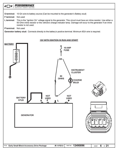 the instructions reference using either the generator light or a 50 ohm  resistor inline to the